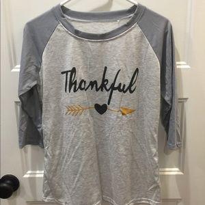 """Tops - """"thankful"""" Baseball tee"""